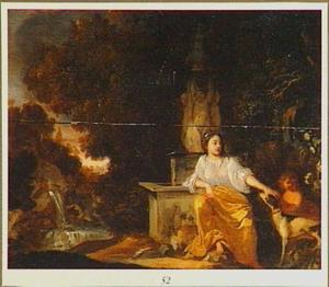 Vrouw met kind en hond bij een fontein in een boslandschap