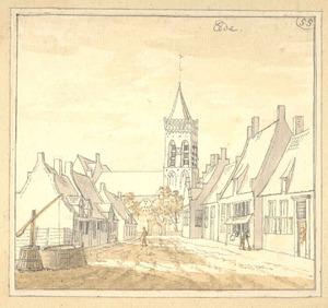 Ede, gezicht in het dorp met de kerk
