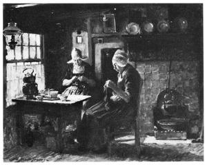 Twee Hollandse handwerkende vrouwen in interieur