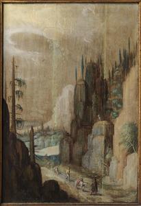 Berglandschap met karavaan trekkend door een bergpas