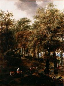 Boslandschap met reizigers en herders bij een ondergelopen weg