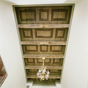 Balkenplafond beschilderd met vakken
