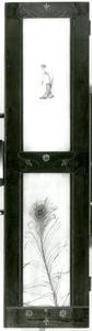 Beschilderd deurpaneel met vrouw en pauwenveer