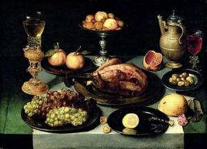 Stilleven met een kapoen, fruit en drinkgerei