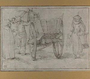 Figuren bij een boerenwagen en een paard