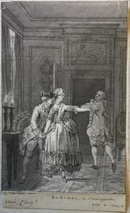 Scène uit L.-S. Mercier's drama 'Le déserteur'