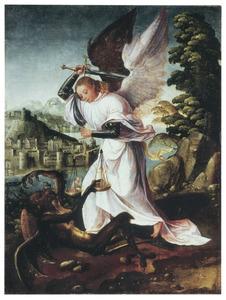 De H. Michael strijdend met de duivel om het behoud van een paar zielen