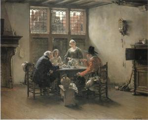 Drie rokende en drinkende mannen en een dienstmeisje in een Hollands interieur