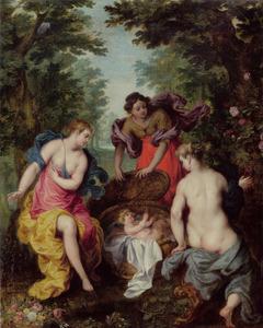 De dochters van Kekrops ontdekken het slangenkind Erichthonius