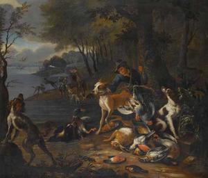 Landschap met jagers, jachthonden en grote jachtbuit
