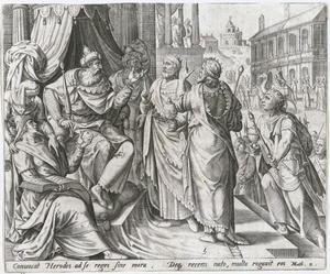 De drie koningen bezoeken koning Herodes in Jeruzalem