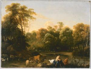 Boslandschap met baders en koeien