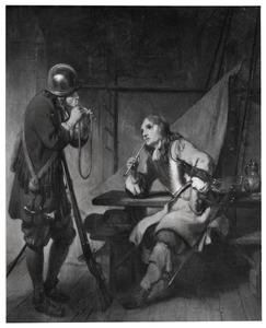 Twee soldaten in een wachtlokaal