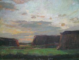 Three haystacks in a field