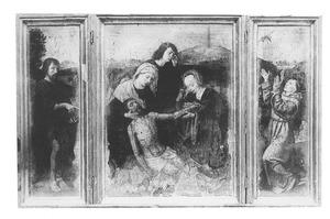 De H. Johannes de doper (links), de bewening (midden), de H. Franciscus (rechts)