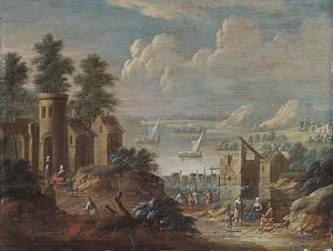 Landschap met toren op de voorgrond en een watermolen bij een waterval