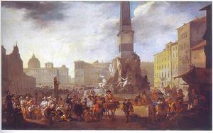 Marktscène op het Piazza Navona in Rome