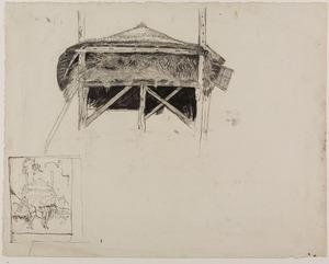 Studie van een hooiberg, links onderaan een schets van een paard voor een hooiberg