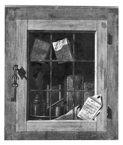 Trompe-l'oeil van een kastje met een glas-in-looddeurtje met daarin boeken en schrijfgerei