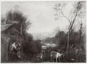 Landschap met twee vrouwen voor een boerenwoning