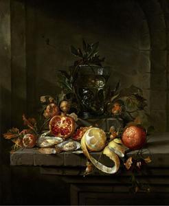 Stilleven met vruchten, oesters en een roemer, in een nis
