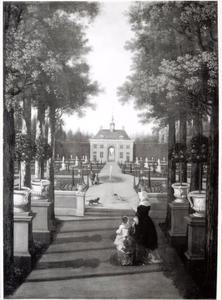 Vrouw en kind in een formele tuin