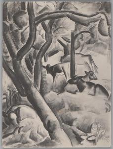 Kalveren in een boomgaard