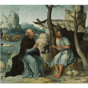 De HH. Antonius Abt en Paulus de Heremiet gevoed door de raven; Antonius begraaft Paulus met behulp van twee leeuwen