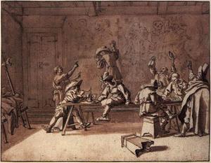 Kunstenaars van de Schildersbent feestend in Rome