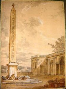 Architecturale studie met fontein en obelisk, Medici-villa