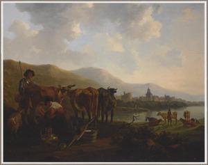 Landschap met een herder en zijn vee en een boerin die een koe melkt, een stad in de achtergrond