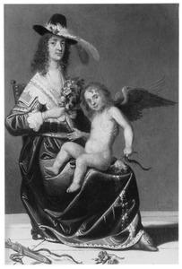 Een vrouw met een amor op schoot, allegorie op de Liefde
