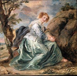Hagar vertwijfeld in de woestijn na haar verbanning  (Genesis 21 :9-19)