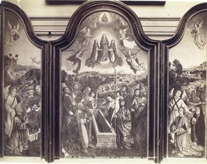 Schenker met een engel en heiligen in een landschap (binnenzijde linkerluik), de tenhemelopneming van Maria (middenpaneel), Albrecht Bouts en zijn tweede echtegenote met engel in een landschap (binnenzijde rechterluik)