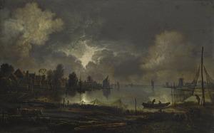 Rivierlandschap bij maanlicht met visnetten op de voorgrond