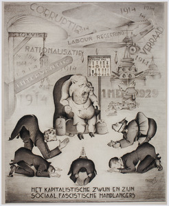 Karikatuur van het kapitalisme en het 'sociaal fascisme'