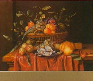 Vruchtenstilleven in een mand met daarvoor een tinnen bord met oesters
