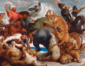 Een jachtpartij op leeuwen, tijgers en luipaarden