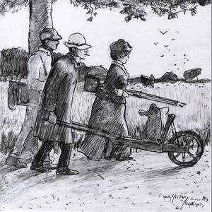 Portret van Charles van Wijk (1875-1917), Anna Maria (1875-1944) en Willy Sluiter (1873-1949)