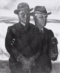 Portret van Toon Kelder (1894-1973) en Albert Charles Auguste Plasschaert (1874-1941)