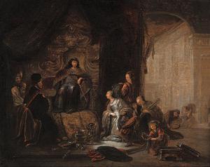De koningin van Seba komt voor Salomo met een talrijk gevolg en brengt vele geschenken  (1 Koningen 10:1-2;2 Kronieken 9:1-2)