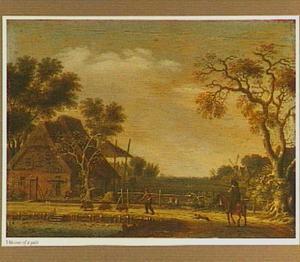 Landschap met een ruiter en een boer met varkens op een weg langs een boerderij