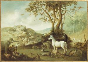 Landschap met de dieren op weg naar de ark van Noach (Genesis 7:8)