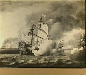 Het uit de slag slepen, op 14 juni 1666, van de 'Royal James' tijdens de Vierdaagse Zeeslag, 11-14 juni 1666; episode uit de Tweede Engelse Zeeoorlog (1665-1667)