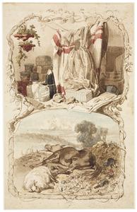 Opslag van verfstoffen, textiel en andere goederen, en landschap met dode dieren: Allegorie van de verworvenheden en gevaren van de Scheikunde