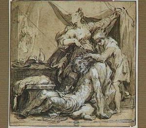 Terwijl Simson slaapt in Delila's schoot, knipt een Filistijn zijn haar af (Richteren 16:19)