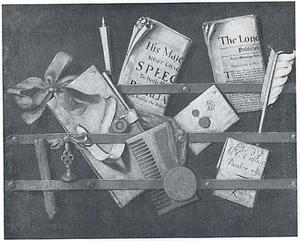 Trompe- l'oeil brievenbord met schrijfgerei, documenten en een kam