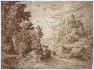 Rivierlandschap met rotsen en bebouwing
