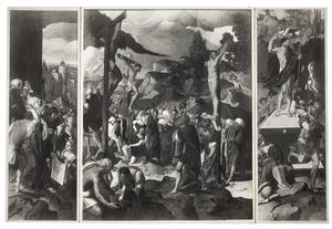 Drieluik met de kruisdraging (links), de kruisiging (midden) en de opstanding (rechts)