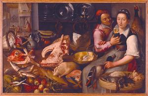 Keukenstuk met amoureus paar